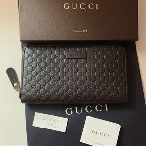 NEW Wallet Gucci Brown Micro GG 449391